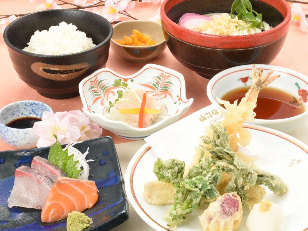 春野菜と海老の天ぷらお刺身うどんセット